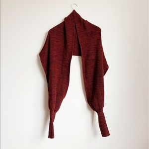 deep red thick knit scarf with sleeves!